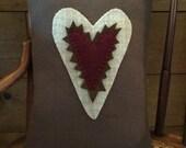 Primitive Folk Art Sawtooth Heart Valentine Penny Rug Pillow