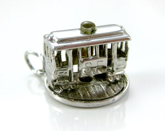 Charm, Sterling Silver, Silver Trolly, San Fransisco, Transportation, Cable Car, Travelers, 3D Charm