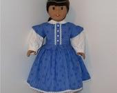 Blue Civil War Dress and Pantaloons, AG Doll Historical, American Doll Civil War, Doll Period Dress, Fits 18 Inch American Girl Dolls