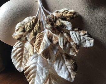 Mocha & White Leaves Velvet Millinery Leaves  for Bridal, Boutonnieres, Corsages, Headpieces, Millinery ML