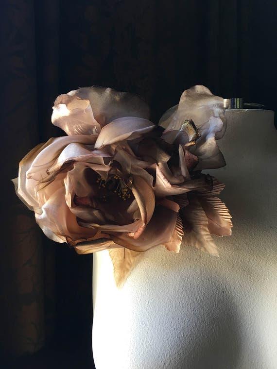Brown Silk Rose Amp Bud Flower For Derby Bridal Hats