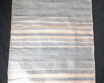 Powder Blue Indigo Handwoven Striped Wool Rug