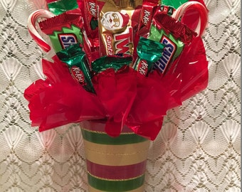 Christmas Candy Arrangement Gold, Green & Red Vase