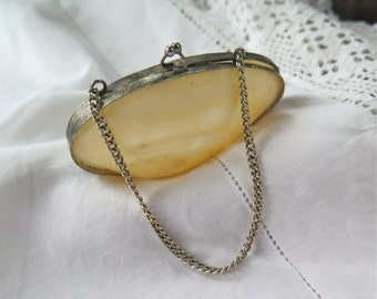 Victorian Coin Purse in Shell with Chain Mother of Pearl Keepsake Grand Tour Souvenir