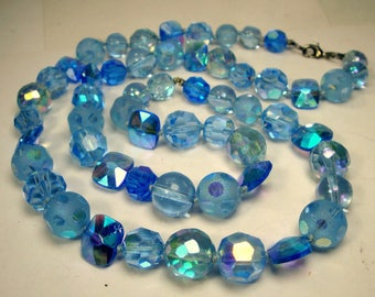 Something Blue & Aurora Borealis Rainbow Necklace, Lovely Hues of Assorted Carribean Water Color Glass Beads, One Strand Glass n Crystal
