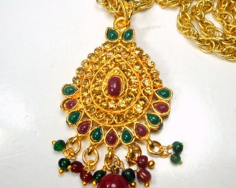 Exotic Gold, Ruby Red and Green Teardrop Amulet w Dangles , Flashy White and Yellow Rhinestone Pendant on Chain, India, The East Style