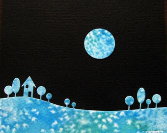 5X5 Watercolour Landscape Silhouette Against Black Night Sky with Moon / Turquoise, Teal, White / Mixed Media / Original Art /