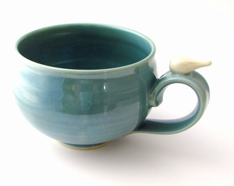 Made to Order Large Handmade Pottery Mug With a Peaceful White Bird