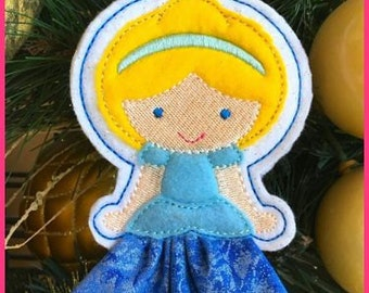 In the Hoop 3D Skirt Princess Christmas Ornament 1 4x4 Machine Embroidery