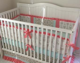 Baby Girl Crib Bedding Set Ruffled Gold Coral and Mint Boho Arrows Tribal Ready to Ship