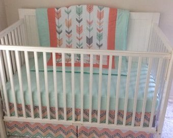 Peach Gray and Mint Arrows Crib Bedding WITHOUT TEETHER