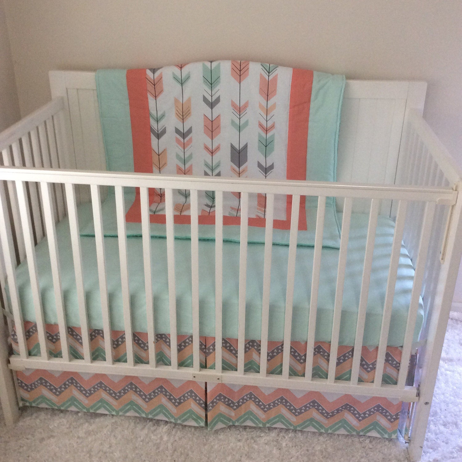 peach gray and mint arrows crib bedding without teether. Black Bedroom Furniture Sets. Home Design Ideas