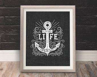 Sailor Themed Life on the Open Sea Anchor Ship Modern Vintage Illustration Instant Download Printable Digital File Wall Decor Art Print