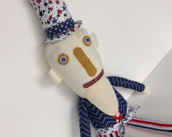PATRIOTIC UNCLE SAM--Plush Uncle Sam Doll-Americana--Red White Blue Uncle Sam--Stars Stripes--Patriotic--4th of July-Fireworks--Memorial Day