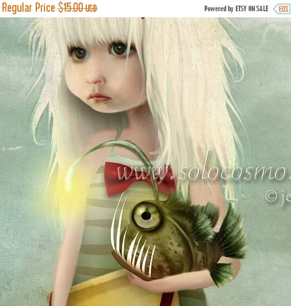 "BIRTHDAY SALE Angler Fish and Little Girl Beach Print ""My Fishy Friend"" Fine Art 8.5x11 8x10 Print of Original Digital Artwork - Girl and Se"