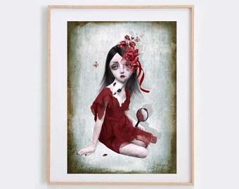 Lowbrow Art Print - Big Eyed Girl Art - Wall Decor - Wall Art - Porcelain