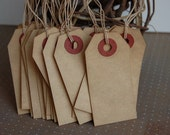 Extra Small Tea Stained Tags Strung with Tea Stained String-2 3/4 x 1 3/8-Set of 25 Tags-Price Tag-Escort Card-Wedding-Rustic-Ready to Ship