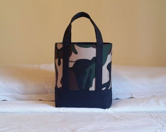 BIBLE TOTE Perfect Size for your Bible, Journal, Pens, Study guides.  Camouflage with Black canvas accents