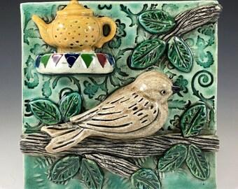 Ceramic Art Tile, Ceramic tile, Accent tile, Home Decor, wall art