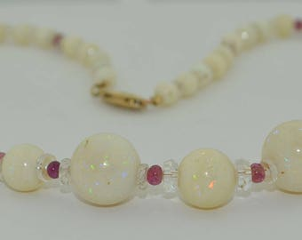 White Fire Opal & Ruby Necklace