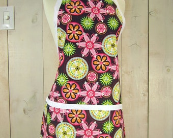 Carnival Bloom Womens Apron, Full Apron, Reversible Apron, Apron with Pockets
