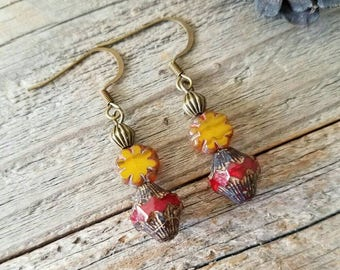 Red jewelry, red earrings, yellow jewelry, yellow earrings, handmade jewelry, boho jewelry, bohemian jewelry, rustic jewelry, boho earrings