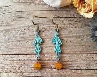 Blue jewelry, blue and yellow, patina jewelry, blue accessories, spring jewelry, summer jewelry, shabby chic, rustic, Southern charm, boho