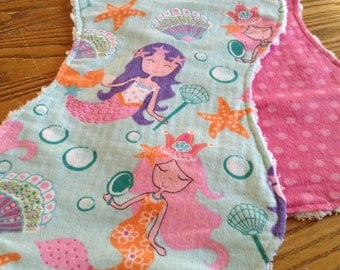 2 Flannel Burp Cloths with Chenille Back for Baby Girl, Bright, Mermaids, ready to ship