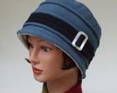 Fleece Bucket Hat, Women Fleece Hat, Blue with Black, Windpro Polartec Fleece, Soft Chemo Headwear, Warm Winter Hat, Lined Hat, Medium