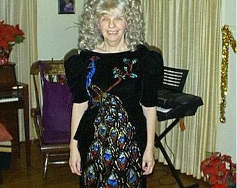 Black Velvet Cocktail Dress -  Vintage - Hand-Painted in 1990's