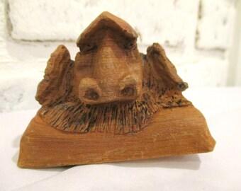 Vintage Troll Wood Carving Sculpture Figurine Hand Carved Signed GW or WG Wildlife Art