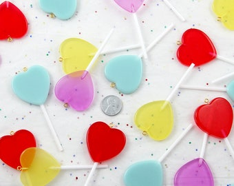 Fake Candy Charms - 83mm Big Heart Shaped Fake Lollipop Faux Candy Acrylic or Resin Charms- 4 pc set