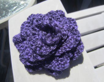 Deep Purple Crochet Rose