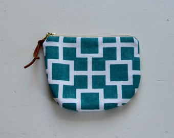Turquoise Lattice Padded Round Zipper Pouch / Coin Purse / Gadget / Cosmetic Bag - READY TO SHIP