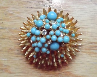 1960s abstract brooch goldtone metal, blue stones, rhinestones - charity for animals