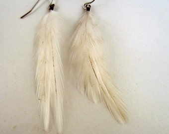 Cruelty Free  white Feather Earrings