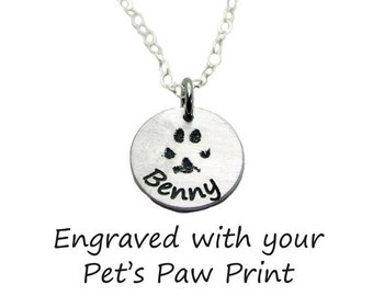 "Your Pet's Paw Print Round Charm (5/8"") Necklace, sterling silver"