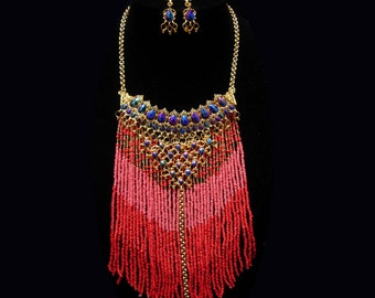 Bohemian Fringe Necklace / statement necklace / rhinestone earrings / Hippie  bib Choker / fringe drop necklace set