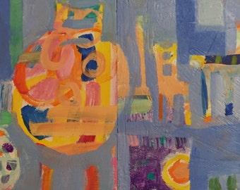 "Kitchen - Original Acrylic Oil Encaustic Interior Diptych Painting - 16""x 8"""
