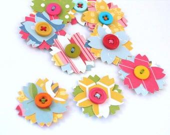 Fun Bright Paper Flowers, Handmade Scrapbook Junk Journal Smash Book Daily Planner Embellishments, Paper and Button Flowers, Handsewn Flower