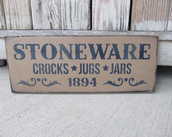 Primitive Stoneware Crocks Jugs and Jars 1894 Hand Painted Wood Sign GCC5526