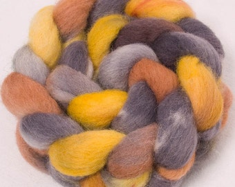 Hand dyed roving, Cheviot, 100g, painted British wool tops, felting fibre, fiber, spinning wool, Colour Shale