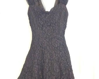 Tattered black lace and tulle vintage dress medium