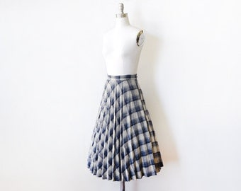 pleated plaid skirt, vintage 70s wool skirt,  blue and gray skirt, small s