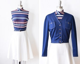 70s mod dress, vintage 1970s mod scooter dress jacket set, red white and blue nautical mod dress, xs/small