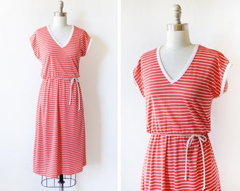 80s red and white striped dress, vintage 1980s dress, medium m