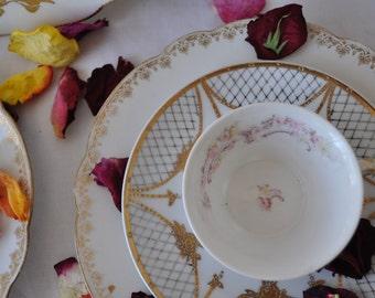 Two Limoges Porcelain Tea Cups and Cake Plates/Antique C. 1900/Vintage Cottage Pink Rose and Gilt Limoges Porcelain Tea Set/Six Pieces Total