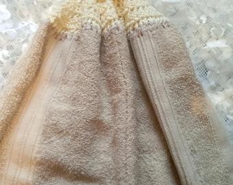 Crochet Top Hanging Kitchen Towel, Hanging Towel, Towel, Beige