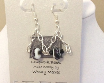 lampwork black and white beaded earrings