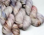 Hand Dyed  Speckled Sock Yarn - SW Sock 80/20 - Superwash Merino Nylon - 400 yards  - Smoke and Lightning